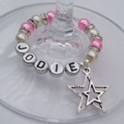 Detailed Double Star Outline Personalised Wine Glass Charm - Full Sparkle Style
